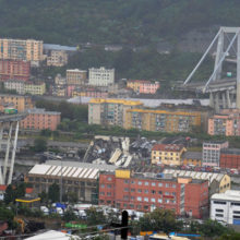 Видеозапись падения моста в Генуе попала в сеть